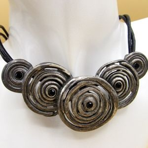 Chicos Brutalist Circular Black Stone Necklace